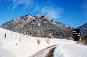 stock photo of pieniny  - Winter landscape in Pieniny Mountains Three Crowns Poland - JPG