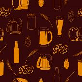 image of drawing beer  - Vector seamless beer pattern with bottle - JPG