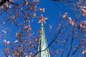Red Star Of The Moscow Kremlin Under The Tree