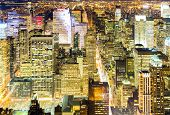 Aerial New York City skyline urban skyscrapers at night, USA.