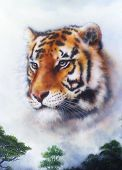 A Beautiful  Painting  Tiger Looking Background in jungle
