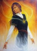 Beautiful Painting Of A Young Woman In Medieval Clothing With Rays Of Light Coming From Her Heart