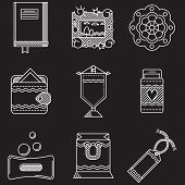 White line vector icons for handmade items