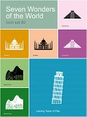 Landmarks of Seven Wonders of the World. Set of color icons in Metro style. Raster illustration.