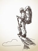 Sketch of man with backpack on top of mountain Hand drawn vector illustration