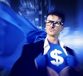 Superhero Businessman Dollar Currency Financial Issues Concept