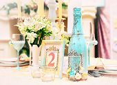 pic of wedding table decor  - Table with beautiful decorations for a wedding - JPG