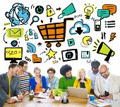 Diversity Casual People Online Marketing Brainstorming Planning Concept