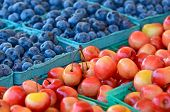 ripe cherries and blueberries