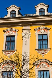 stock photo of tenement  - Facade of an ancient tenement in the Old Town in Krakow - JPG
