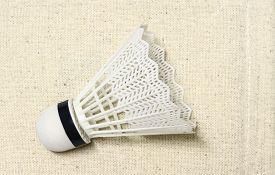 stock photo of game-cock  - equipment badminton Shutter Cock on a white background, ** Note: Soft Focus at 100%, best at smaller sizes - JPG