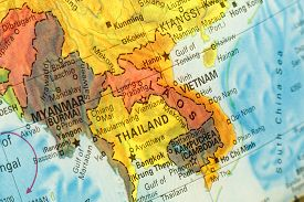 picture of south east asia  - Vintage Map Thailand Vietnam Laos  - JPG