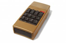 picture of ultrasonic  - Vintage ultrasonic remote control on white background - JPG