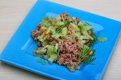 foto of celery  - Tuna and celery salad with dill and capers - JPG