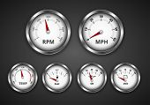 image of mph  - Vintage look silver gauge set for dashboard of expensive retro boat - JPG