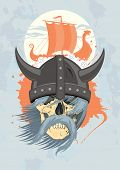 picture of viking ship  - Viking design template with ghost skull - JPG