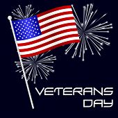 picture of veterans  - american veterans day celebration with flag and fireworks eps10 - JPG