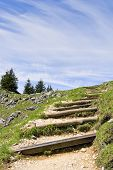 image of bavaria  - Path to the summit of the mountain Breitensteinwith free space in sky in Bavaria Germany - JPG