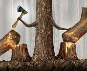 foto of cutting trees  - Competitive strategy concept as a ruthless tree eliminating competition by cutting them down as a career and ambition business idea as a metaphor with a powerful tree holding an ax moving market competitors with branches shaped as human arms - JPG