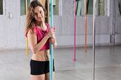 picture of pole dancer  - Horizontal view of young beauty pole dancer - JPG