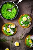 foto of pea  - canape with green peas paste and eggs - JPG
