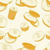 stock photo of golden coin  - Golden coins with dollar sign - JPG