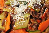 picture of chinese parsley  - steamed vegetables and meat with sesame - JPG