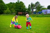 picture of horse girl  - Family on a horse farm in summer - JPG