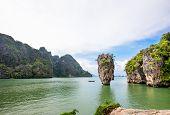 pic of james bond island  - High angle view beautiful landscape sea and sky at Khao Tapu or James Bond Island in Ao Phang Nga Bay National Park Thailand - JPG