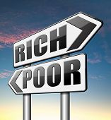 image of prosperity sign  - rich or poor live in poverty or in wealth good or bad luck and fortune road sign arrow - JPG