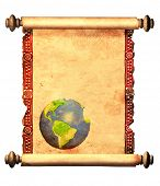 foto of scroll  - Scroll of old parchment with decorative ornament and with printed abstract world map - JPG