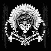 foto of tomahawk  - Lion Head Graphic on black and white background and native american tomahawk - JPG