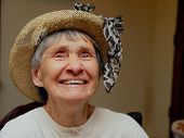 stock photo of old lady  - happy old lady contented with her life and successes - JPG