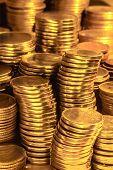 picture of golden coin  - Golden coins stacks business wealth and success concept - JPG