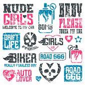 stock photo of biker  - Car and biker culture badges - JPG