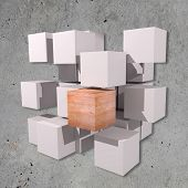 stock photo of cube  - 3d rendering of a background with some white cubes and one stone cube - JPG