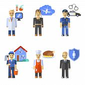 foto of policeman  - Profession set with scientist pilot policeman characters isolated vector illustration - JPG