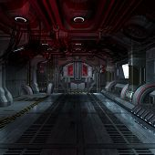 foto of starship  - inside a futuristic scifi spaceship 3D rendering for background or composing image - JPG
