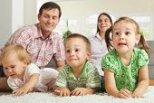 image of nuclear family  - Family at home - JPG