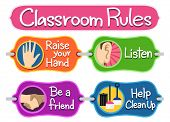 Illustration of Ready to Print Labels of Classroom Rules poster