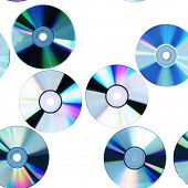 Compact disk isolated on white. Seamless pattern.