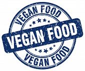 Vegan Food Blue Grunge Round Vintage Rubber Stamp.vegan Food Stamp.vegan Food Round Stamp.vegan Food poster