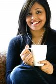 Attractive Asian Beauty With A Cup Of Hot Drink