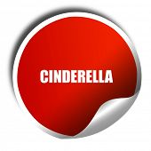 cinderella, 3D rendering, a red shiny sticker poster