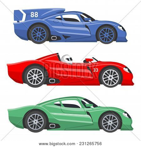 poster of Sport Race Car Vector Speed Automobile And Offroad Rally Car Colorful Fast Motor Racing Auto Driver
