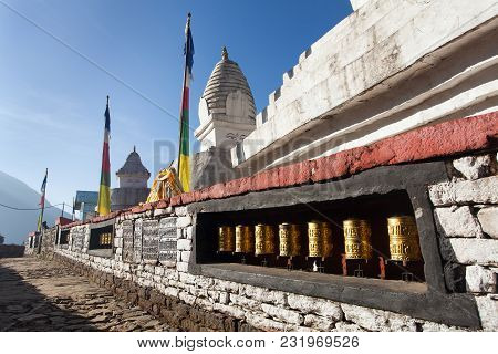 Stupa With Prayer Flags And