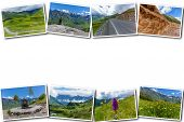 Mountain Road Through A Mountain Pass, Kazbegi And Military Georgian Road. Photo Collage Of Sights O poster