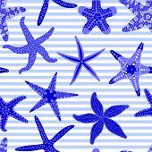 Sea Stars Seamless Pattern. Marine Striped Backgrounds With Starfishes. Starfish Underwater Inverteb poster