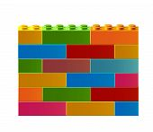 Colorful Wall. Constructor. Building Blocks Toys. Colorful Building Blocks Toys. Isolated On White B poster