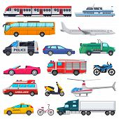 Transport Vector Public Transportable Vehicle Plane Or Train And Car Or Bicycle For Transportation I poster